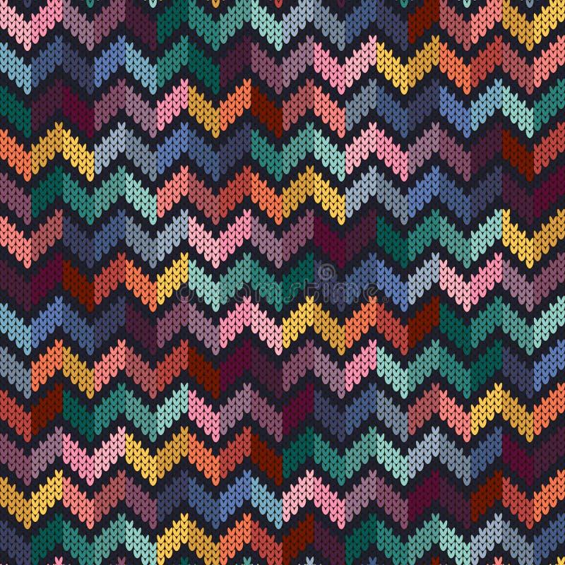 Naadloos multi-colored gebreid patroon vector illustratie