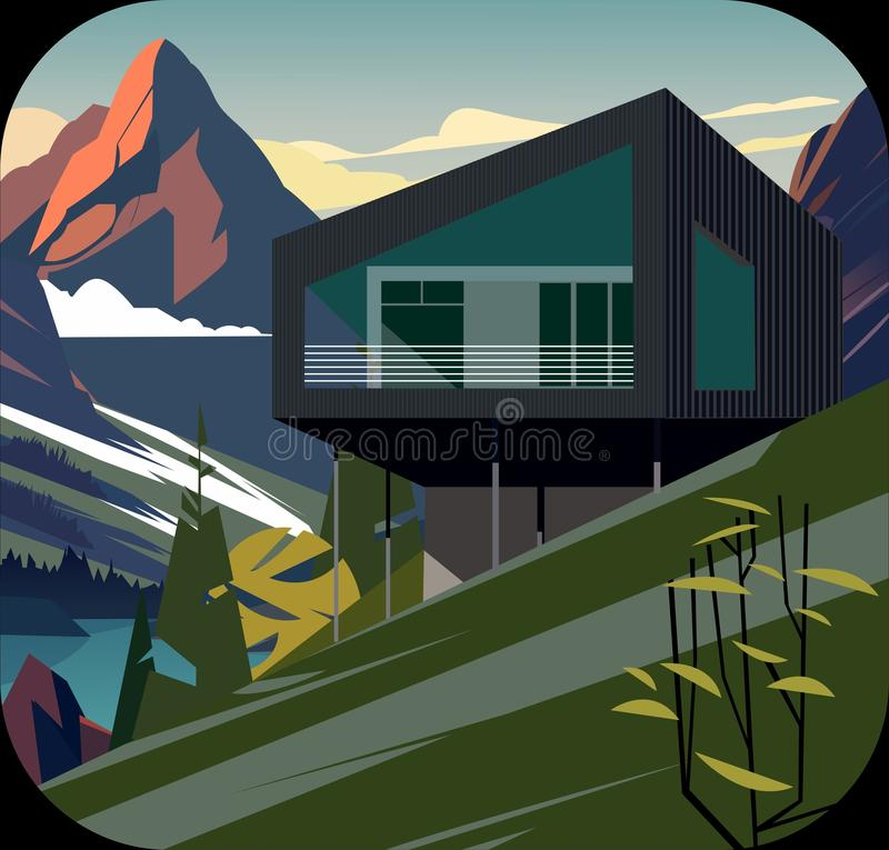 Naadloos natuurlijk landschap, huis met rivier en berg stock foto