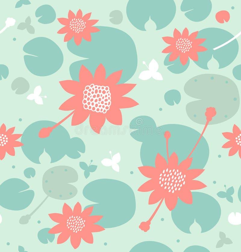 Naadloos natuurlijk patroon met bloemen, waterlelies, lotusbloem Vector decoratieve achtergrond in pastelkleuren royalty-vrije illustratie