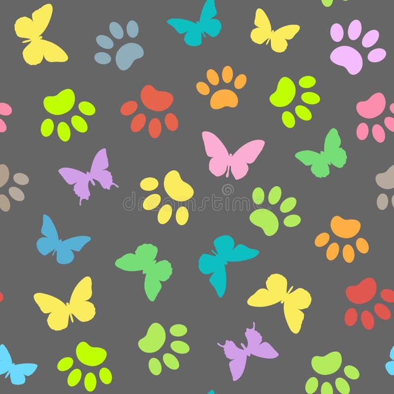 Naadloos natuurlijk patroon van de de dierenpoten en vlinders royalty-vrije illustratie