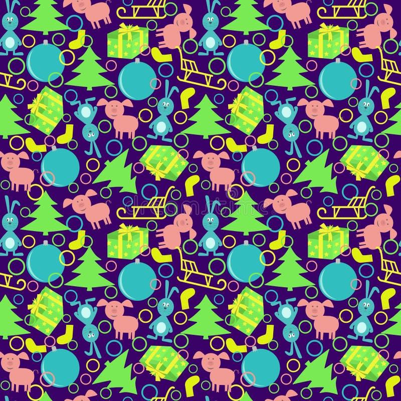 Naadloos nieuw jaarpatroon met eekhoorns, konijnen, varkens, ar, ballen, giften vector illustratie