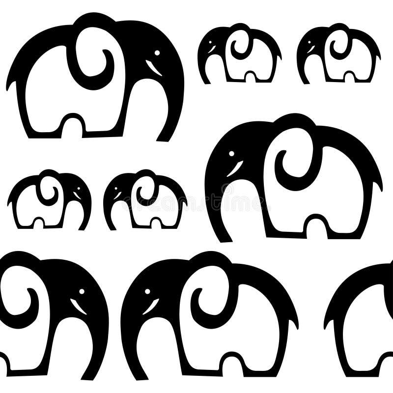 Naadloos olifantspatroon Zwart-witte olifantsachtergrond stock illustratie