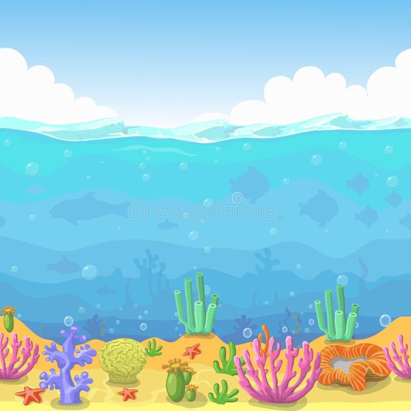 Naadloos onderwaterlandschap in beeldverhaalstijl Vissen en koraal Vector illustratie vector illustratie