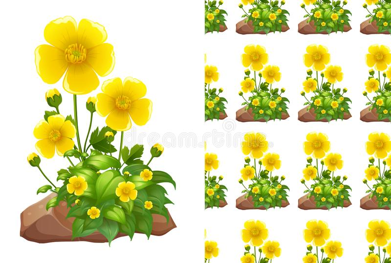 Naadloos ontwerp als achtergrond met gele fowers op rotsen royalty-vrije illustratie