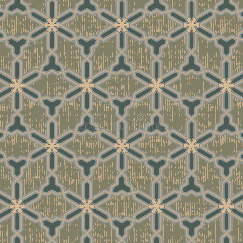 Naadloos oosters patroon met grunge vector illustratie