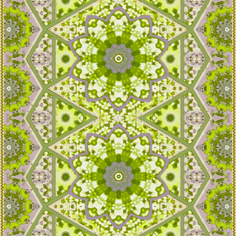 Naadloos oosters patroon met mandalabloem en decoratieve grens in groene tonen Abstracte sierdruk voor stof royalty-vrije illustratie