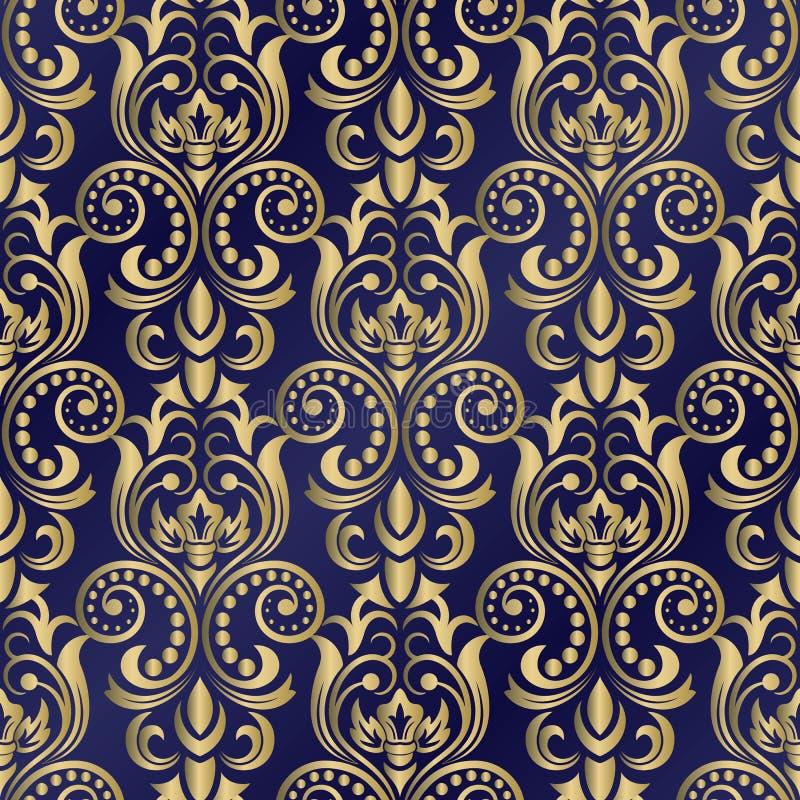 Naadloos oosters patroon Vector uitstekend bloemen naadloos patroonelement Het damast Wallpaper stock illustratie
