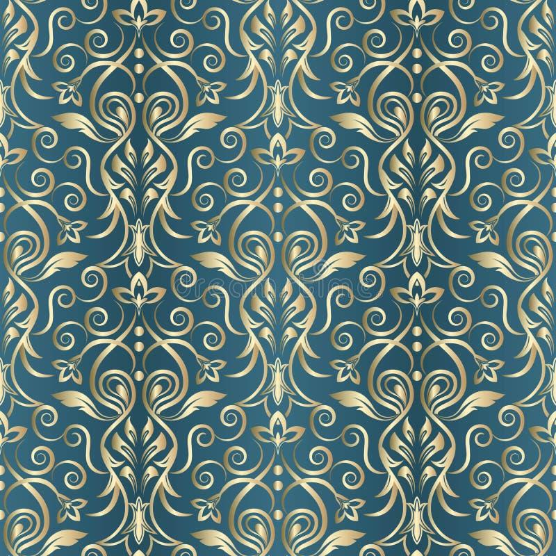 Naadloos oosters patroon Vector uitstekend bloemen naadloos patroonelement Het damast Wallpaper vector illustratie