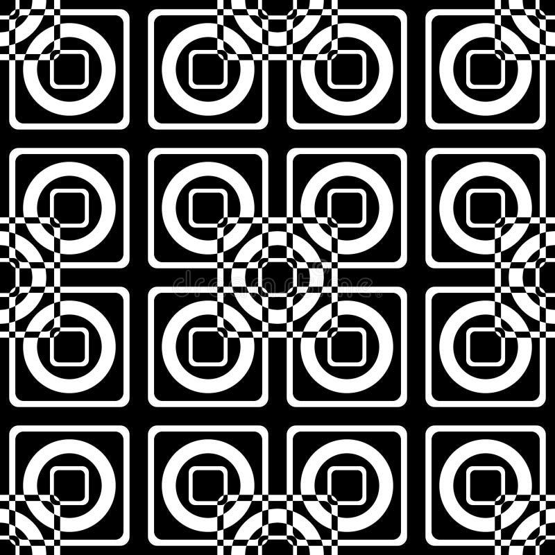 Naadloos optisch patroon van vierkanten en cirkels op een zwarte achtergrond vector illustratie