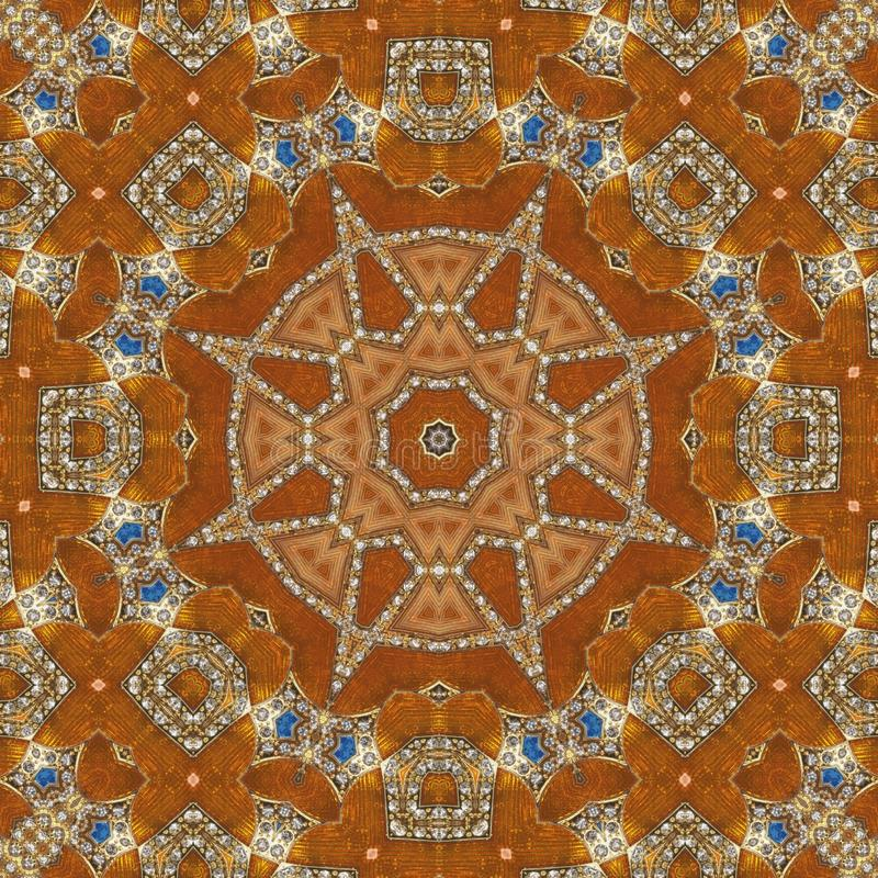 Naadloos oranje juweelpatroon 006 stock foto