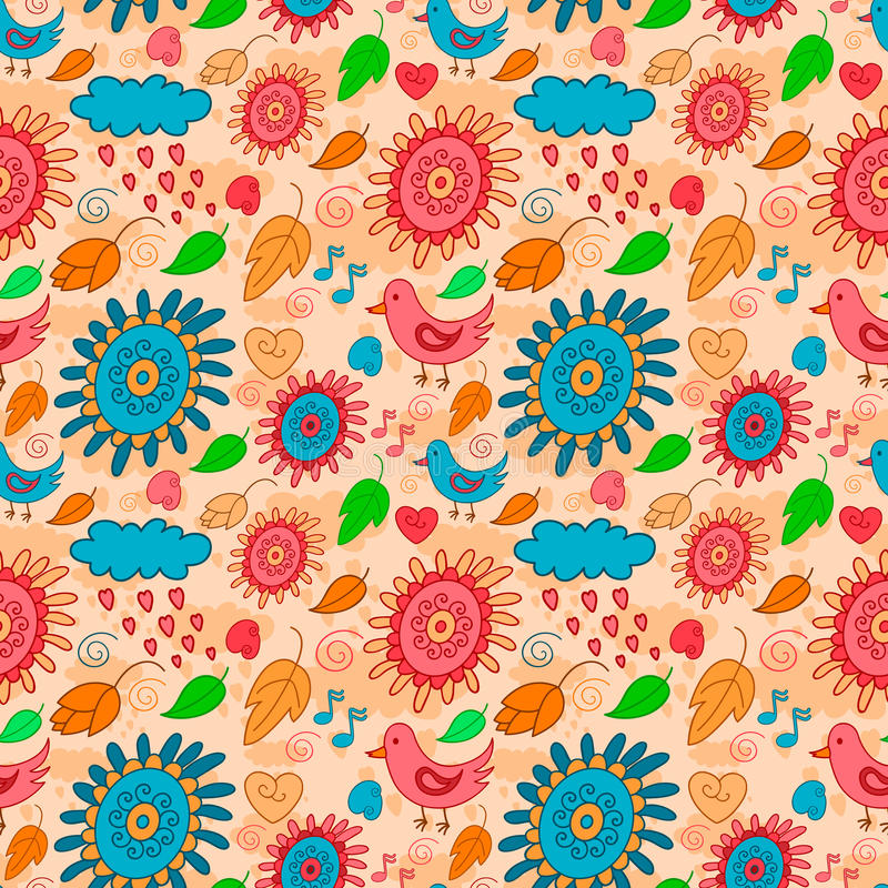 Naadloos oranje patroon met vogels, bloemen en bladeren royalty-vrije illustratie