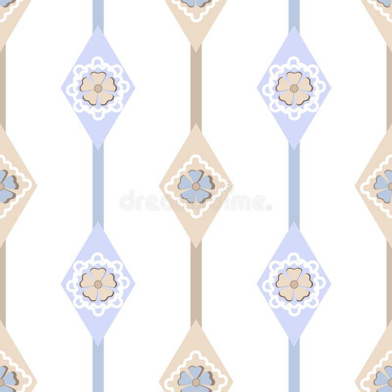 Naadloos overladen eenvoudig bloemenpatroon met geometrische elementenbedelaars royalty-vrije illustratie