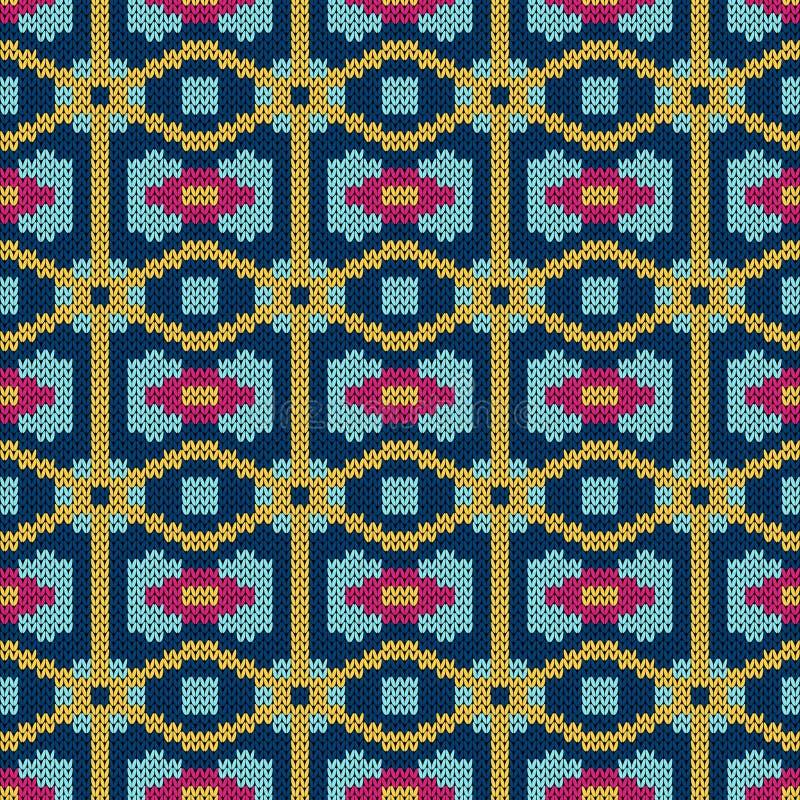 Naadloos overladen gebreid patroon stock illustratie