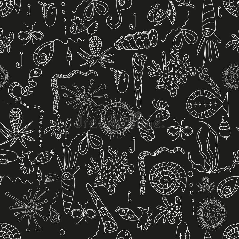 Naadloos overzees planktonpatroon stock illustratie
