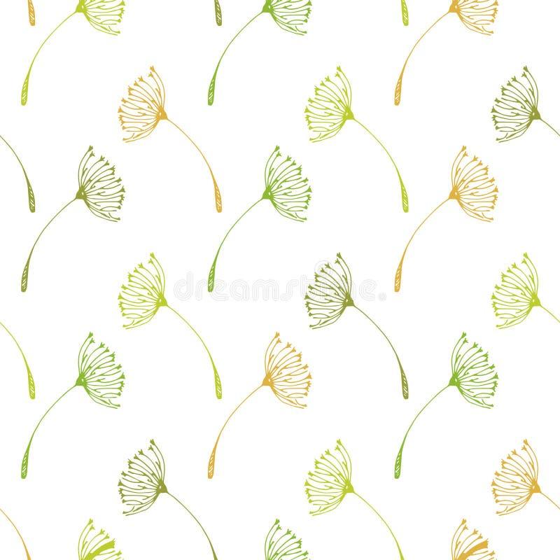 Naadloos paardebloemenpatroon stock afbeelding
