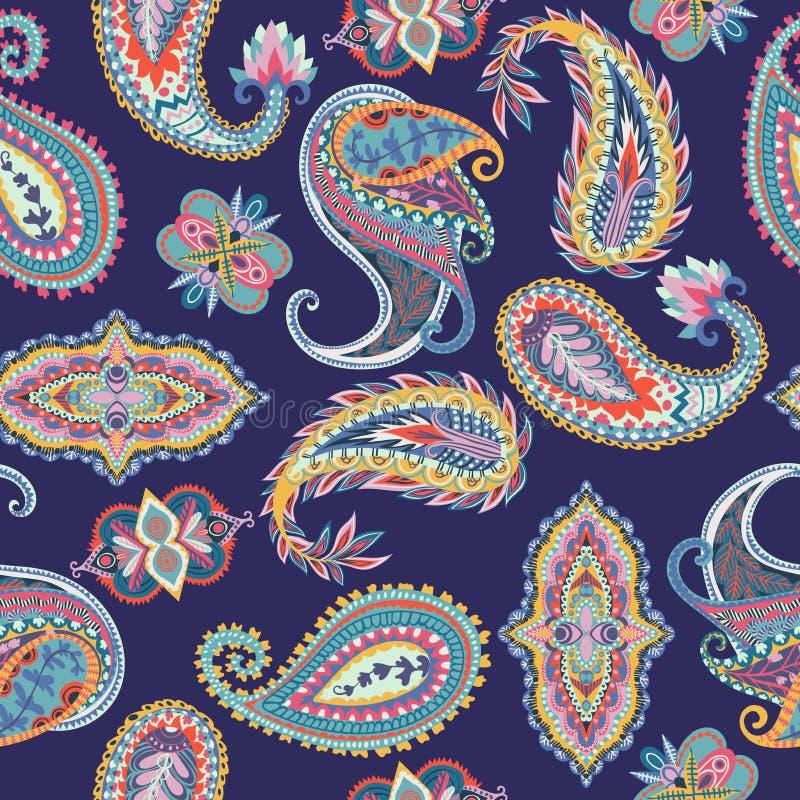 Naadloos Paisley patroon Kleurrijk bloemenornament Oosters ontwerp royalty-vrije illustratie