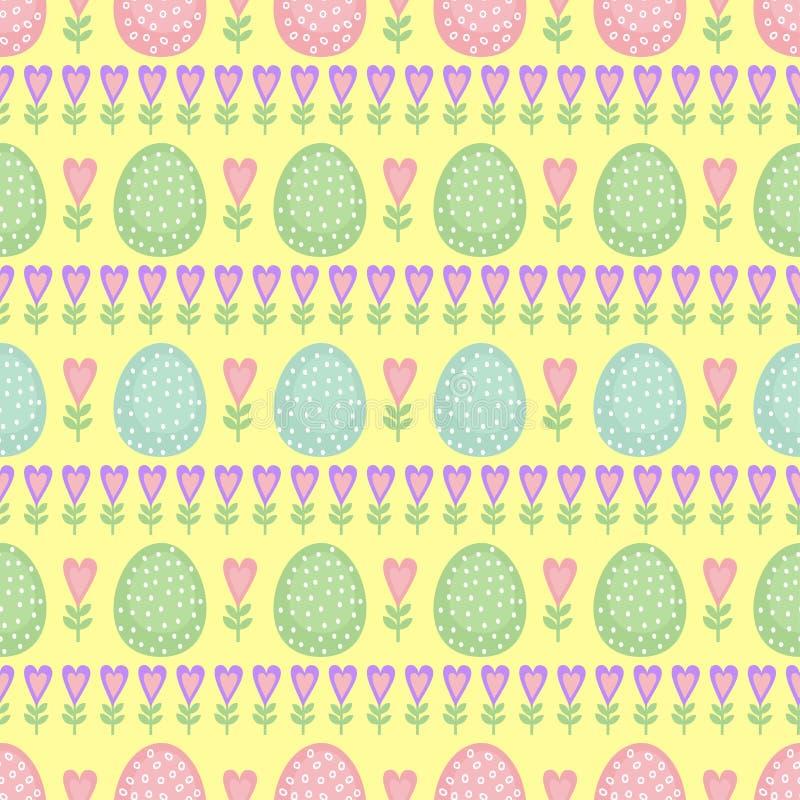 Naadloos Pasen-patroon, kaart Vectorachtergrond met paaseieren, de lentebloemen en harten vector illustratie