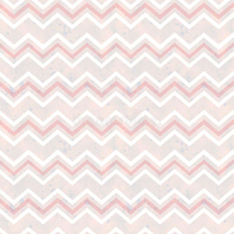 Naadloos patroon, abstracte lijnen op purper-roze waterverfachtergrond stock illustratie