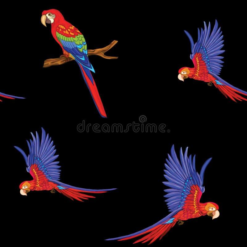 Naadloos patroon, achtergrond met vogels Vector illustratie stock illustratie