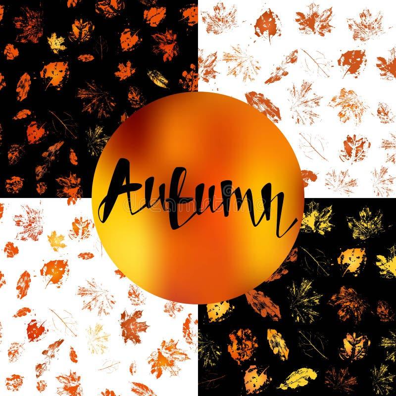 Naadloos patroon als achtergrond met de herfstbladeren stock illustratie