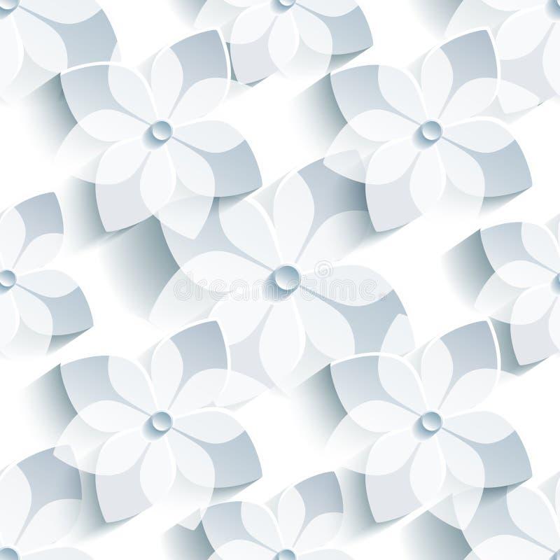 Naadloos patroon als achtergrond met gestileerde sakura royalty-vrije illustratie