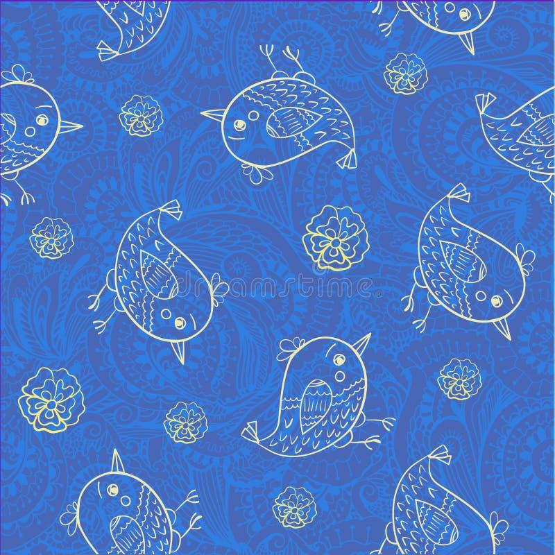 Naadloos patroon als achtergrond van kleine vogelskrabbel op gevormde ornamentillustratie vector illustratie