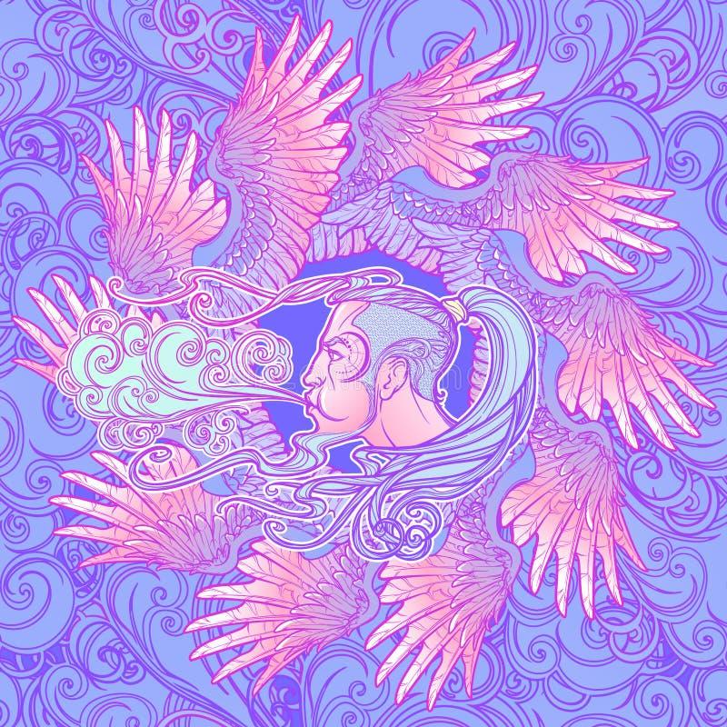Naadloos patroon Antiek de windpictogram van de stijlcartografie Mannelijke hoofd blazende die wind door binnen geschikte vogelvl royalty-vrije illustratie