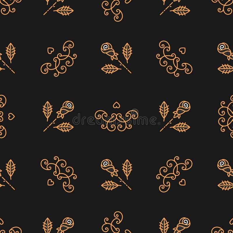 Naadloos patroon Art Deco, Elegante gouden rozen en krullen stock illustratie