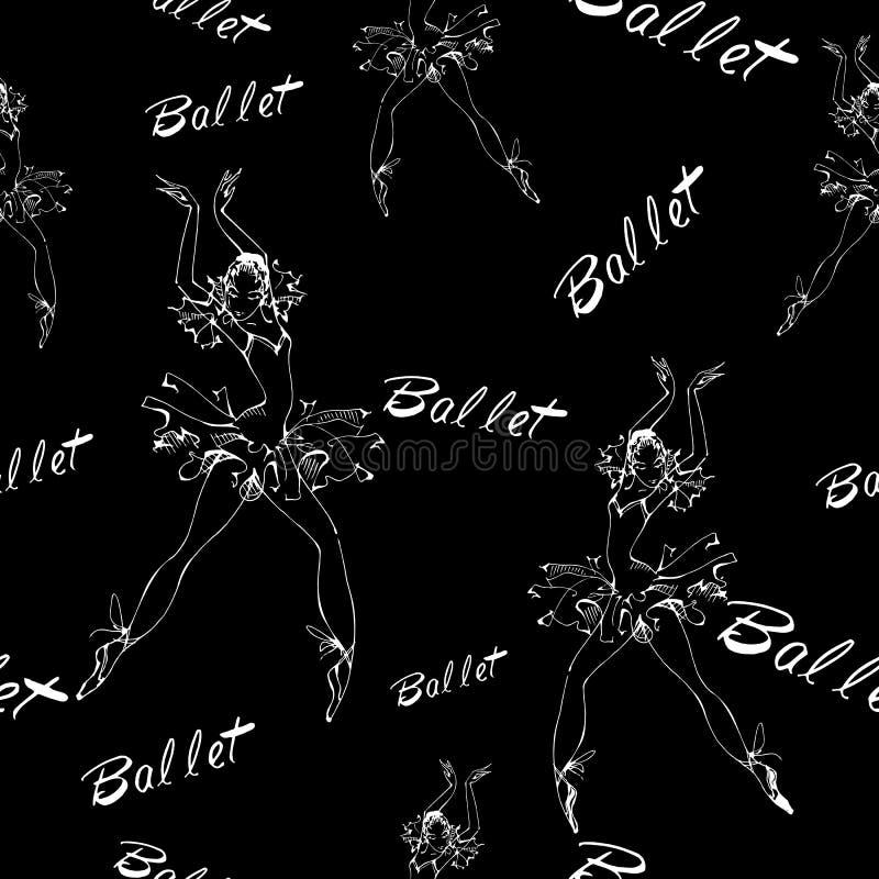 Naadloos patroon ballet Dansende ballerina's inschrijving Vector illustratie stock foto
