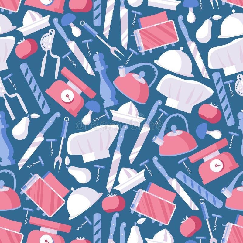 Naadloos patroon in blauwe en roze kleuren gewijd aan voedsel, het koken kunst en chef-kokberoep De vlakke voorwerpen, ontwerpen  stock illustratie