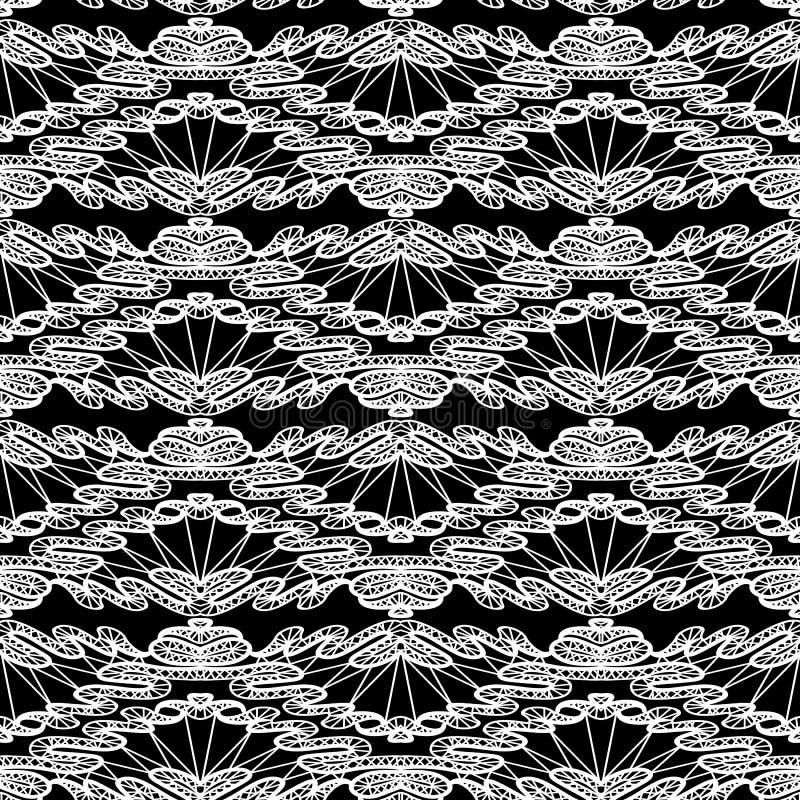 Naadloos patroon - bloemenkantornament - wit en zwarte vector illustratie