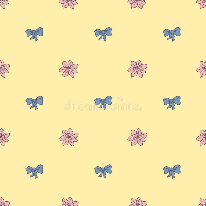 Naadloos patroon bowtie en bloem in pastelkleurkleuren royalty-vrije illustratie