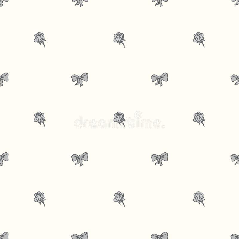Naadloos patroon bowtie en rozen in pastelkleurkleuren stock illustratie
