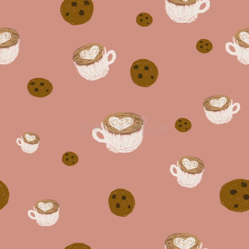 Naadloos patroon Chocoladeschilferskoekjes en latte kunstkoffie met een kunst van de hartvorm latte op roze achtergrond Illustrat royalty-vrije stock afbeelding