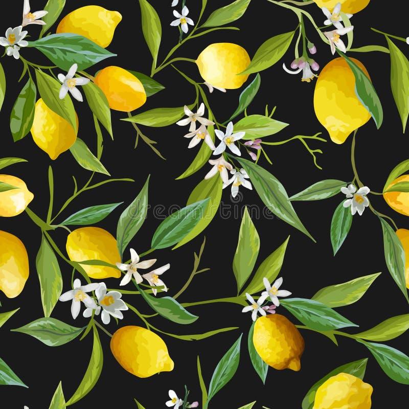 Naadloos patroon Citroenvruchten Achtergrond Bloemen patroon stock illustratie