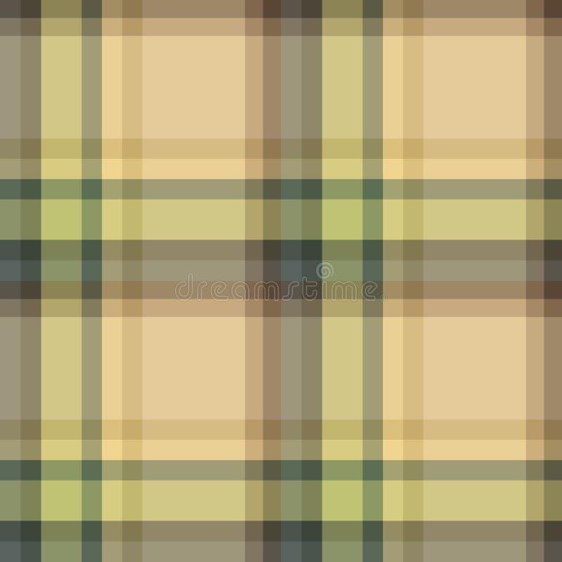 Naadloos patroon in comfortabele beige, groene, grijze en bruine kleuren voor plaid, stof, textiel, kleren, tafelkleed en andere  royalty-vrije illustratie