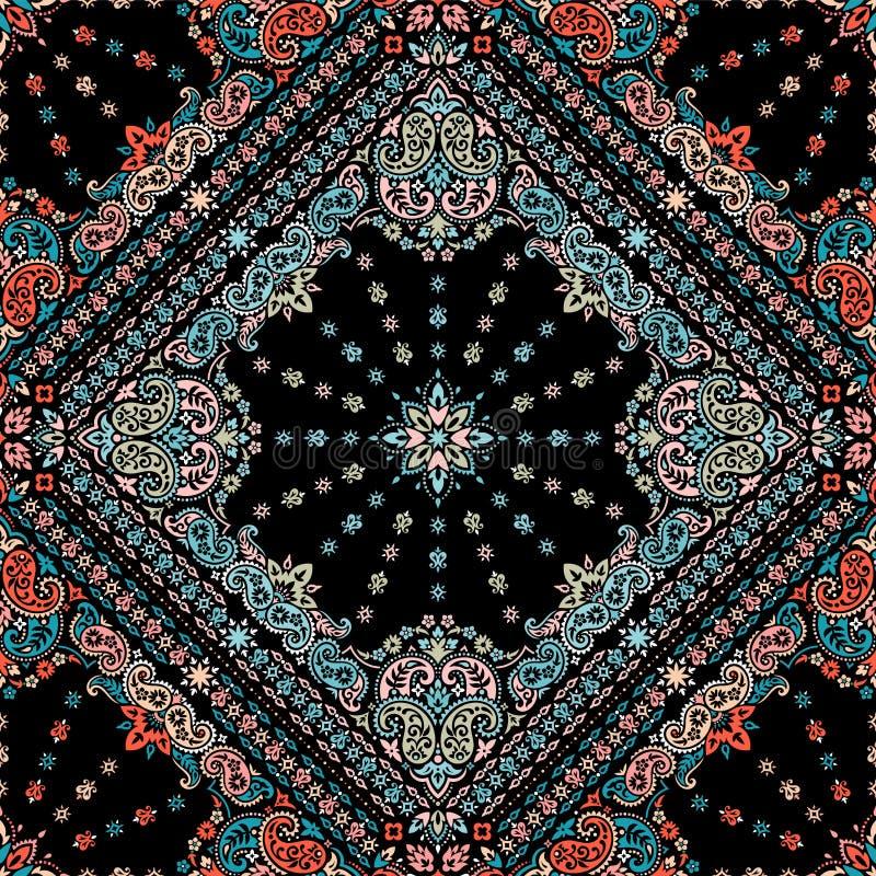 Naadloos patroon dat op de Druk van ornamentpaisley Bandana wordt gebaseerd De vectordruk van ornamentpaisley Bandana De sjaal va stock illustratie
