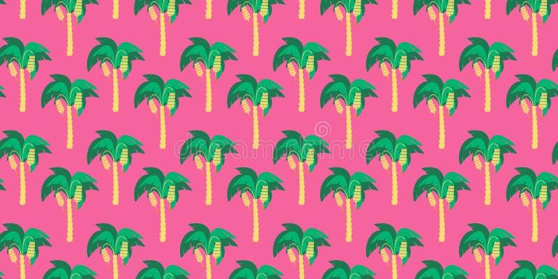 Naadloos patroon De abstracte banaanbomen met banaan groepeert zich het hangen op hen tegen een magenta-gekleurde achtergrond royalty-vrije illustratie