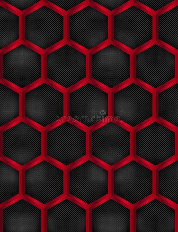 Naadloos patroon De achtergrond van het metaal Hexagonaal, Honey Comb Stainless Steel Mesh Vector illustratie stock illustratie