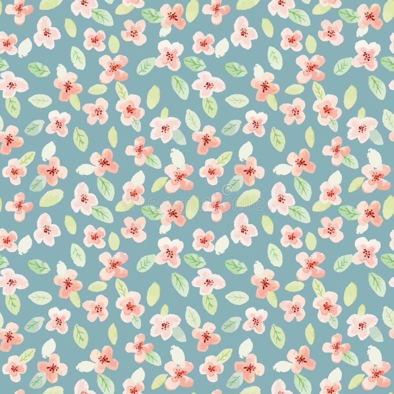 Naadloos patroon De bloemen van de waterverf Kleine bloemen stock illustratie