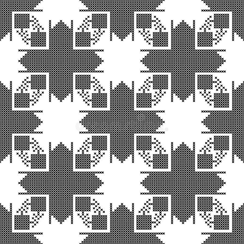 Naadloos patroon De dwars-steek Zwart-witte achtergrond stock illustratie