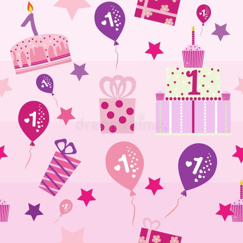 Naadloos patroon, de eerste verjaardag van het babymeisje stock foto's
