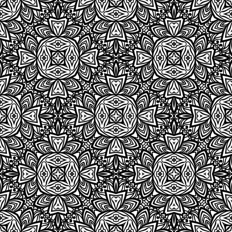 Naadloos patroon in de Marokkaanse tegel van het stijlmozaïek Islamitisch zwart-wit traditioneel ornament Geometrische Achtergron vector illustratie