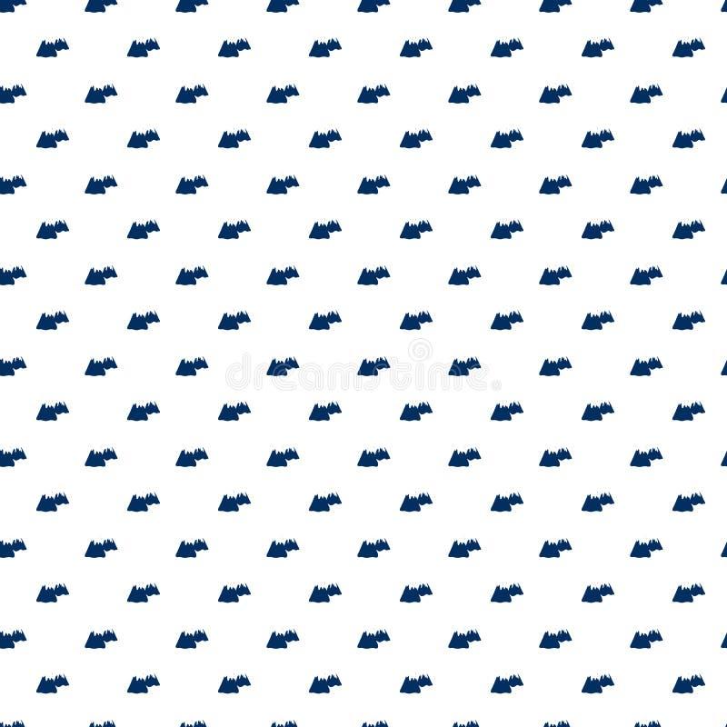 Naadloos patroon, de reis vectordieillustratie van het vulkaanbeeldverhaal, symbool op witte achtergrond, landschapselement wordt stock illustratie