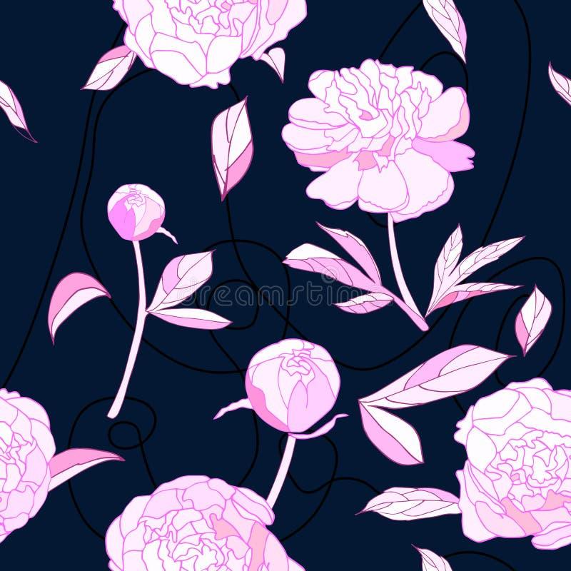 Naadloos patroon, de roze vectorillustratie van pioenbloemen stock illustratie