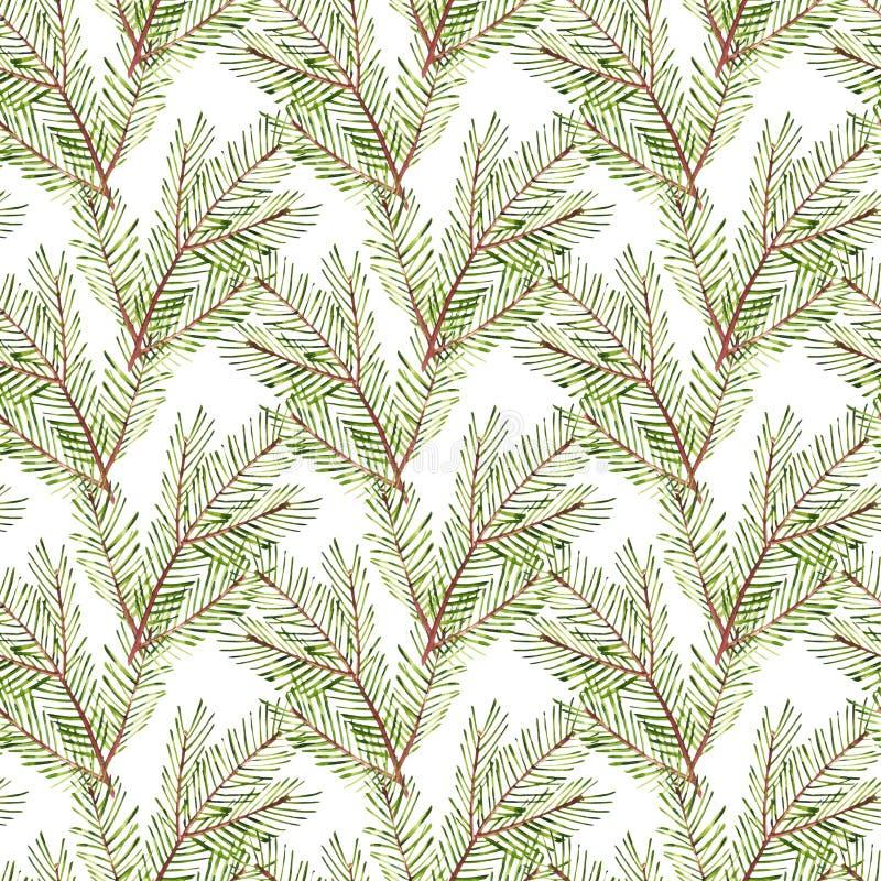 Naadloos patroon De takken van de waterverfkerstboom Hand geschilderde textuur met spar-naald natuurlijke geïsoleerde elementen stock illustratie