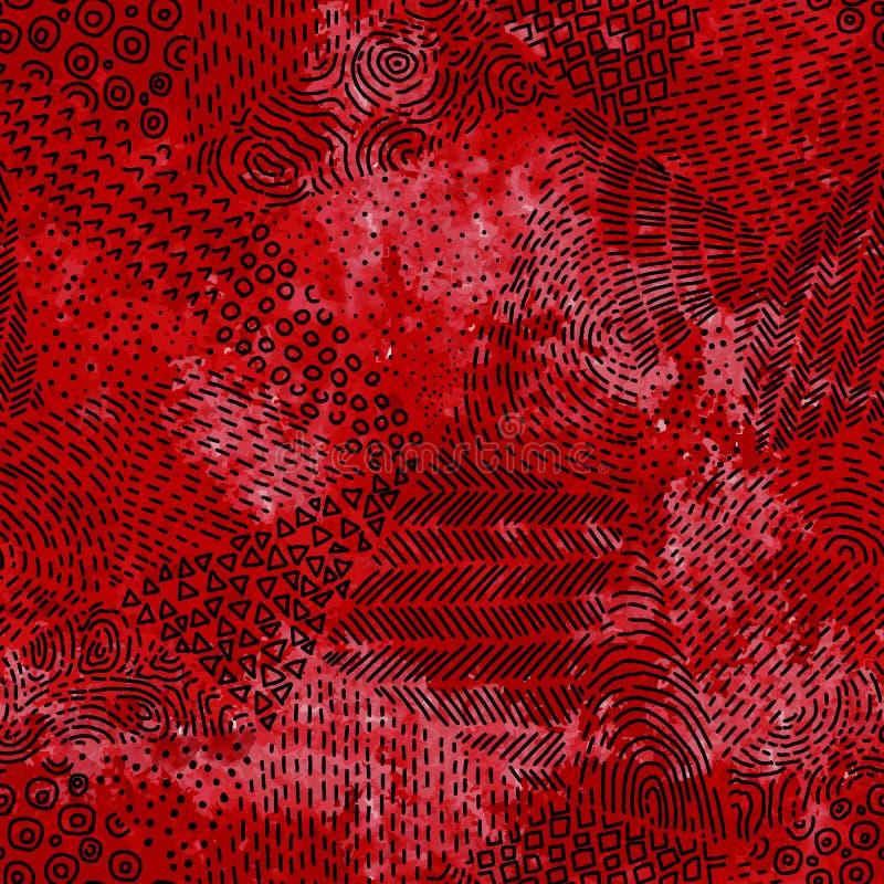 Naadloos patroon De textuur van de Grungewaterverf Rode nevelvlekken B stock illustratie