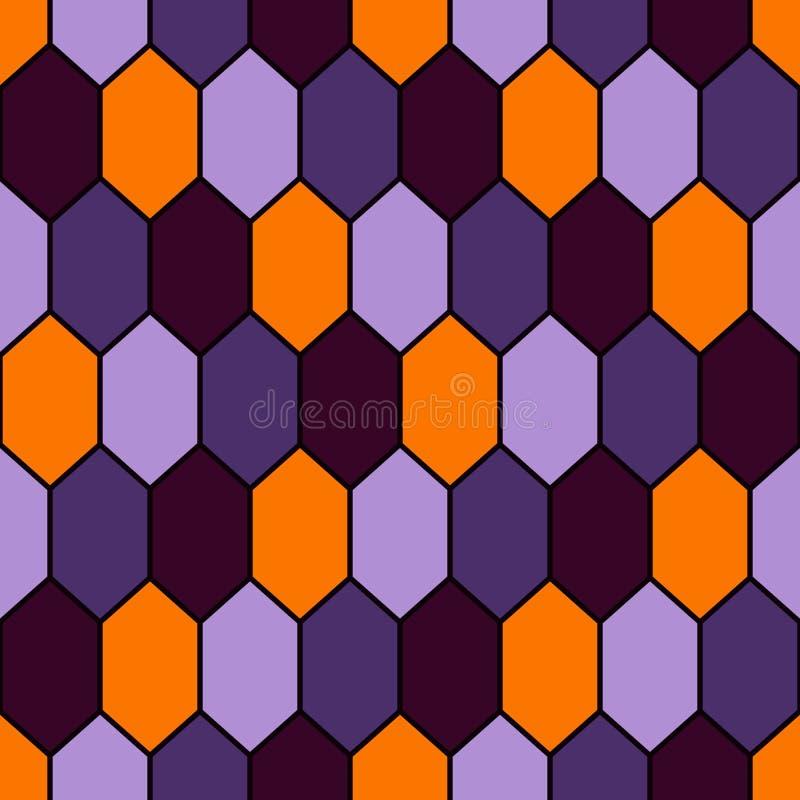 Naadloos patroon in de traditionele kleuren van Halloween met diamantennet Schildpadshell motief Honingraatbehang vector illustratie