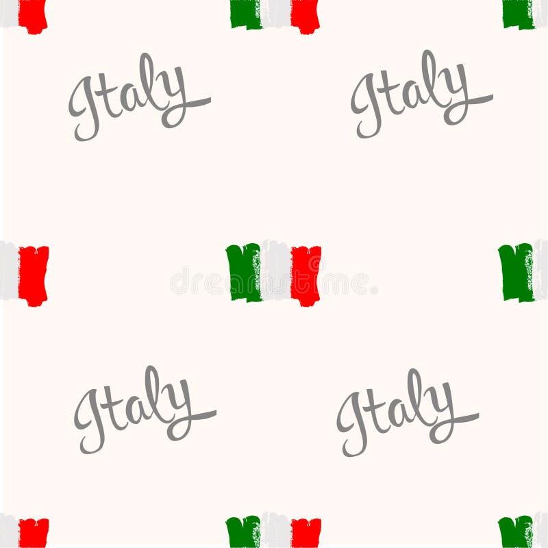 Naadloos patroon De vlag van Italië door borstelhand die wordt geschilderd royalty-vrije illustratie