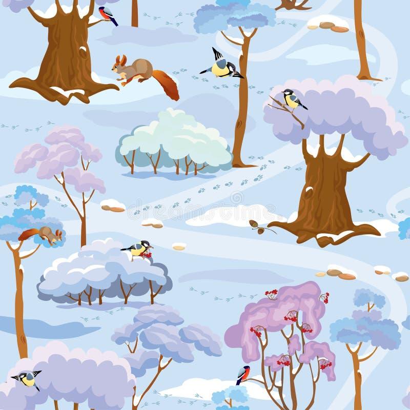 Naadloos patroon - de Winter Forest Landscape met bomen stock illustratie